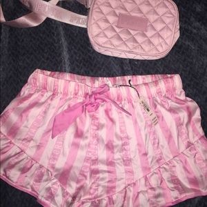 Pink sleep shorts and Fanny pack